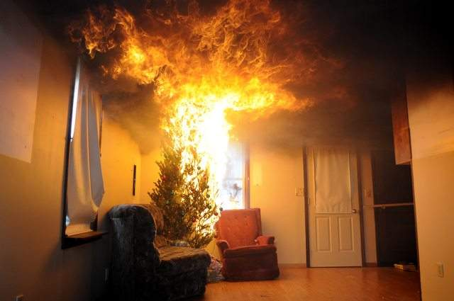 Christmas tree on fire Abbotts Fire and Flood Colorado